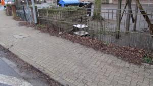 Gehweg - Schulhof mit Sperrmüll (Foto: A. Hanne)